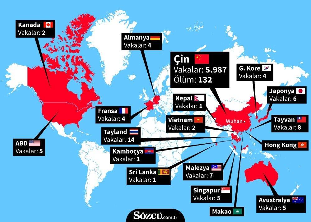 Corona virüsü görülen ülkeler