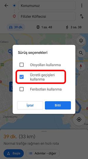 google haritalar ücretli yolları kapatma