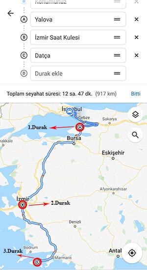 google navigasyon rota ekleme