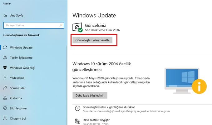 windows update ayarları