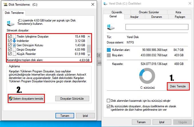 windows disk temizleme