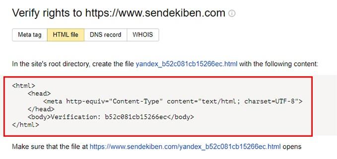 yandex site doğrulaması